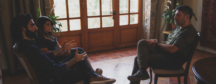 During the interview with Tatev and Arshak. Photo by Emma Marashlyan